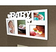 Personalized Framed Photo 5 and 3x7 Inches In One Baby Design White Wooden Frame 4 Photos