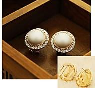 pendientes de diamantes y perlas # 72-1