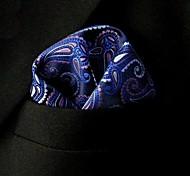 blue print floral de seda casuais bolso quadrado dos homens