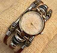 Women's High Quality Glitter Dial with Rhinestone Leather Band Quartz Movement Bracelet Watches