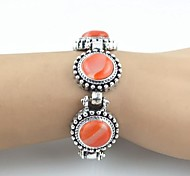 Toonykelly Vintage Look Antique Silver Natural Agate Stone Bracelet(1 Pc)