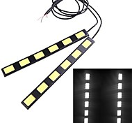 1Pair 12W COB 6-LED Car Daytime Running Light Bar DRL Driving Lamp White 12V
