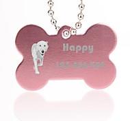 forme d'os de cadeau personnalisé nom d'id animal argent tag avec la chaîne pour les chiens