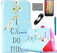 COCO FUN® Green Bird Pattern PU Leather Full Body Case with Film and USB Cable and Stylus for Motorala Moto G