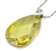 Fashion Drop Shape Zircon Pendant Necklaces Random Color