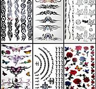 6 piezas de anillo de flores de tatuajes temporales mixtos