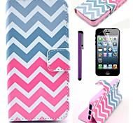 rosa Welle Muster pu Ledertasche mit Schutzfolie und Schreibkopf für iphone 5/5 s