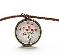 tempo art colar de pingente de árvore de vida coração jóia árvore cabochão de vidro colar