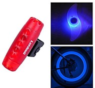 FJQXZ Bullet Design ABS Red Waterproof Warning Tail Light and 2 PCS Blue Bike Spoke Light Set