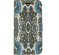 Ethnic Style Flowers PU Leather Full Body Wallet Protective Case with Stand for Samsung Galaxy S Advance I9070