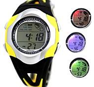 moda rodada relógio de plástico banda digitais dos homens (cores sortidas)