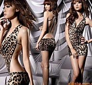 Sexy Leopard Deep V Mini Dress Sexy Uniform