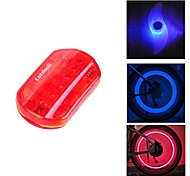 FJQXZ Waterproof Red Cycling Warning Tail Light and 2 PCS Blue Bike Spoke Light with1 Pair ABS Safety Valve Lamp Set