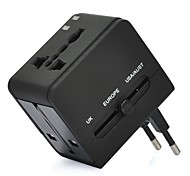 Worldwide Travel Power Adapter Charger w/ UK / Europe / USA / AUST / 2 USB / Power Socket