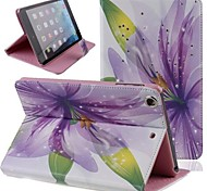 Beautiful Purple Flowers Inlaid Shiny Glitter Diamond PU Cases with Stand for iPad mini 1/2/3