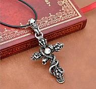 Муж. Ожерелья с подвесками Заявление ожерелья Кожа Титановая сталь Крестообразной формы В форме черепа Змея Заявление ювелирные изделия