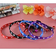 Fashion Printing Nylon Collar with Bell for Dogs and Pets (assorted colors,size)