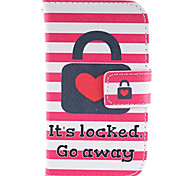 Heart Lock Design PU Leather Full Body Protective Case with Stand for Samsung Galaxy S3 Mini I8190