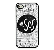 SOS Sign Leather Vein Pattern Hard Case for iPhone 4/4S