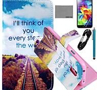 coco Fun® Zukunft Straßenmuster PU-Lederetui mit Film-und USB-Kabel und Stylus für Samsung s5 Mini-G800