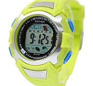 moda masculina rodada relógio digital de banda de plástico verde