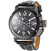 Men's Sporty Design Black PU Leather Band Quartz Wrist Watch