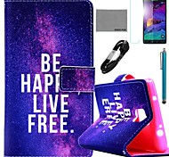 COCO FUN® Free Life Pattern PU Leather Case with Film and USB Cable and Stylus for Samsung Galaxy Note 4