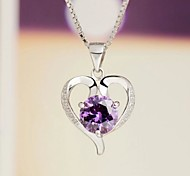 925 CZ Sterling Silver Heart-Shaped Necklace