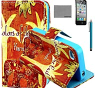 COCO FUN® Orange Floral Elephant Pattern PU Leather Case with Screen Protector and Stylus for iPhone 4/4S