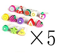 [5-PCS]Fruit 3.5 MM Polymer Clay Anti-dust Earphone Jack for iPhone and iPad(Random Color)