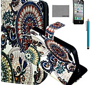 COCO FUN® Circle Floral Pattern PU Leather Case with Screen Protector and Stylus for iPhone 4/4S