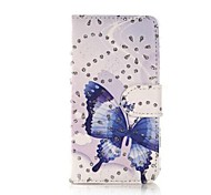Fashion Rhinestone Painted Blue Butterfly PU Full Body Case for Huawei P7