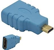 HDMI hembra a micro HDMI adaptador macho-azul