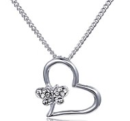 2015 Butterfly Knot Are Single Love Diamond Clavicle Chain Pendant Necklace
