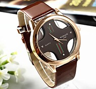 Popular Men's Round Cross Golden  Dial  Leather Band Quartz Analog Wrist Watch(Assorted Color)