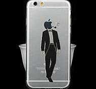 Fashion Ultra-Thin Transparent Cartoon Series Gentleman Male TPU Soft Back Cover for iPhone 6
