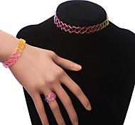 BaoGuang®Elastic Tattoo Choker Necklace Set(Rainbow color)