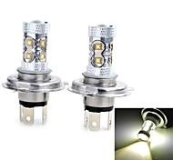 2 Stück H4 50 W 2000-3000 LM 6500 K 10 High Power LED Kühles Weiß DC 12/DC 24 V