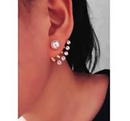 Luxurious Shine Five Rhinestones  Beautifully Big Pearl Earrings