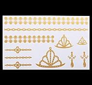 1PC Gold Tattoos Crown Jewelry Temporary Tattoos Flash Tattoos Metallic Tattoos Wedding Party Tattoos(20*10cm)