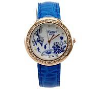 Women's 2015 Newest Charm Watch Quartz Analog Leopard Unique Blue Flowers Pattern Diamond Rhinestone Lady Girls Gift