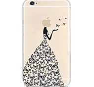 Butterfly Dress Transparent Back Case for iPhone 6