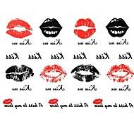 Outros - Yimei - Tatuagem Adesiva - Waterproof - para Feminino/Girl/Masculino/Adulto/Boy/Adolescente - de Papel - Vermelho/Preta - 17cm*16cm 2