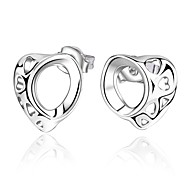 Women's S925 Silver Plated Dolphins Zircon Heart Shape Earrings(Color Preserving More Than A Year)