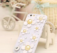 Fashion Diagonal White shell daisies  Case Bowknot Pattern Rhinestone Case for iPhone6