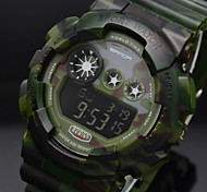 Men's Sport Watch LCD Digital Waterproof Wrist Watch Army Green Rubber Band Multifunctional LED Clock