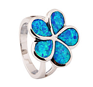 High Quality Fashion Platinum Opal Blue Mosaic Water Ring