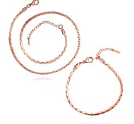Plated Rose Gold 2.5MM Fashion Jewelry Sets Necklace bracelet