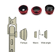 Universal compatible Lens with Filter/Fish-Eye Lens/Long Focal Lens/Wide-Angle Lens/Jelly Lens(Red)