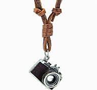 European And American Retro Nostalgia Camera Adjustable Leather Cord Necklace